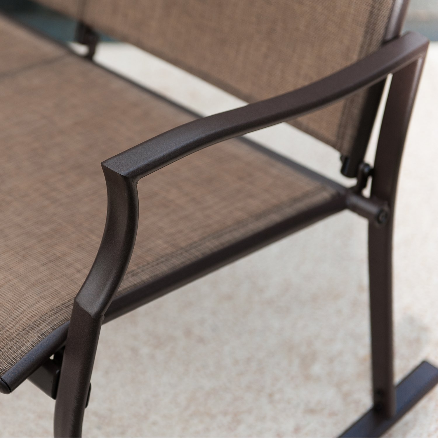Patio Loveseat Bench, Glider Swing Rocking Chair with Steel Frame for 2 Persons by SLN (Image #5)