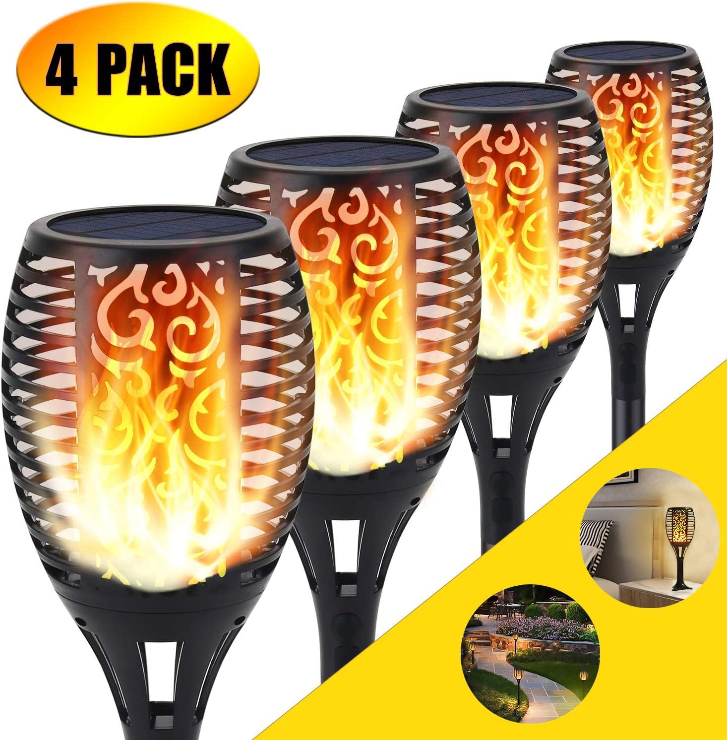 Luz solar de la antorcha, 96 LED parpadeo luces de llama Jardín sendas/patio decoración de paisaje al aire libre iluminación de llama de baile (4 pack): Amazon.es: Iluminación