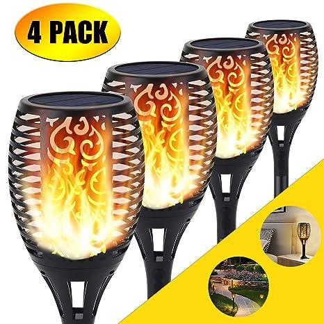 Luz solar de la antorcha, 96 LED parpadeo luces de llama Jardín sendas/patio decoración de paisaje al aire libre iluminación de llama de baile (4 ...