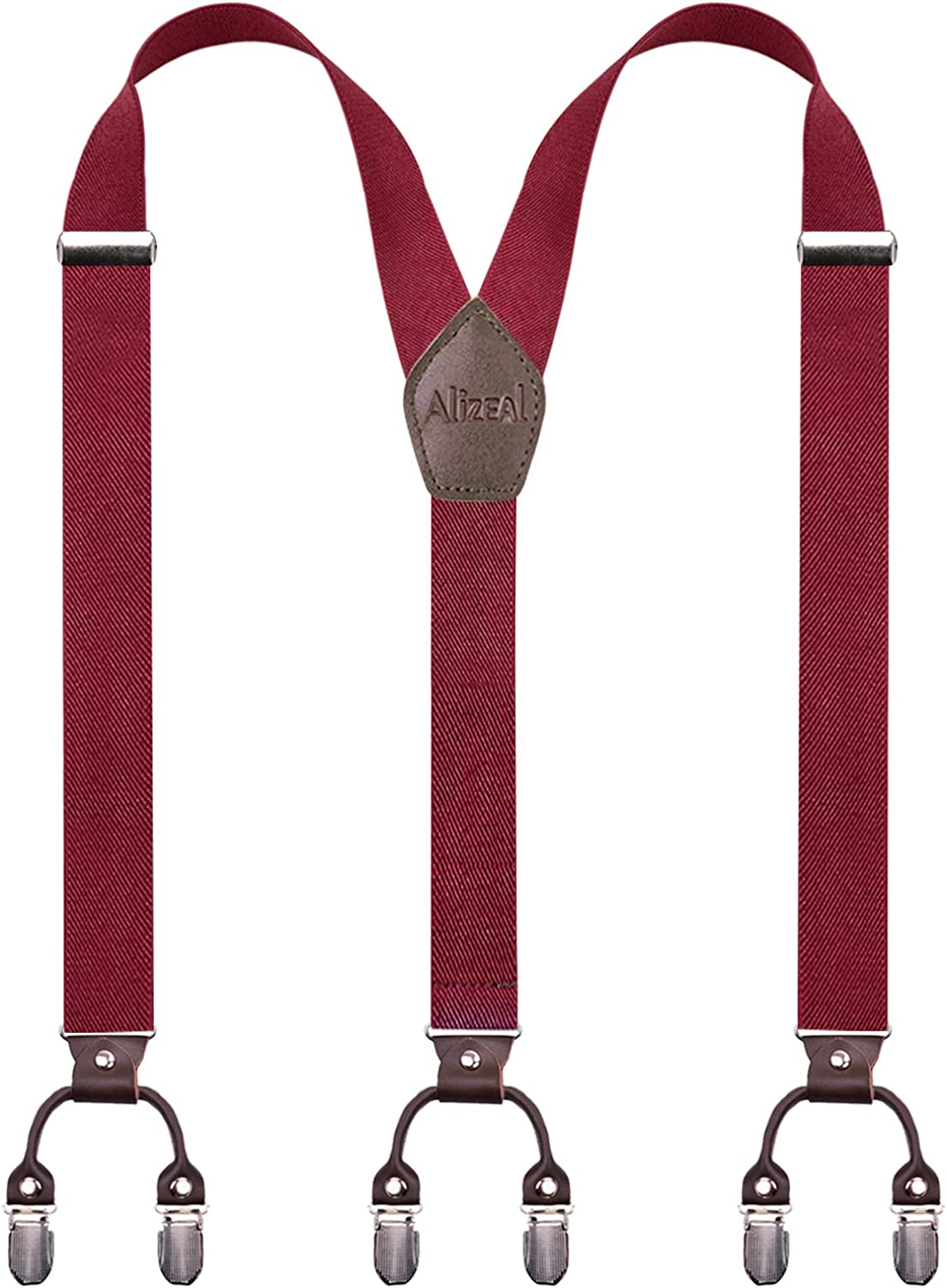 Alizeal Mens Adjustable Heavy Duty Work Leather Clips Suspenders