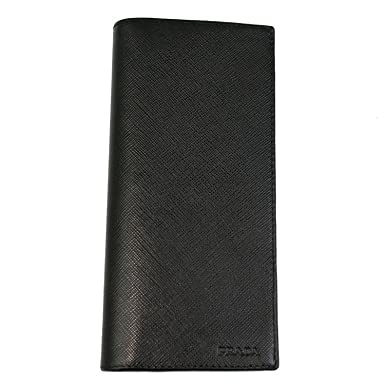 26e6e5bb1bc4 Image Unavailable. Image not available for. Color  PRADA MEN S BLACK  SAFFIANO LEATHER LONG WALLET ...