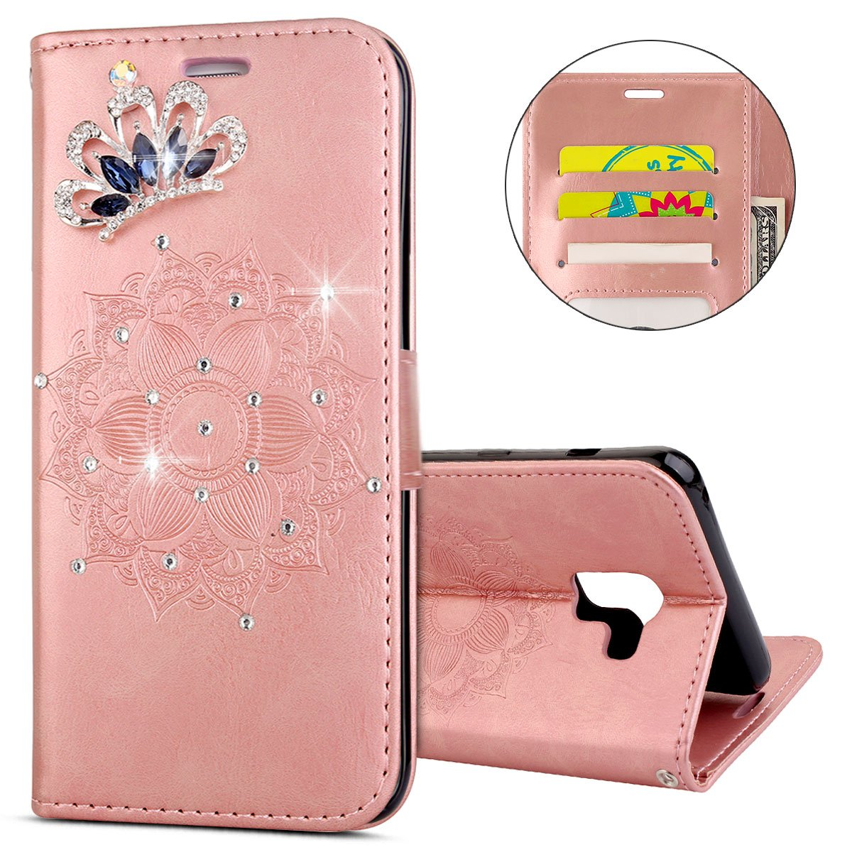 IKASEFU Galaxy A7 Plus 2018,A8 Plus 2018 Case,Clear Crown Rhinestone Bling Glitter Wallet Card Holder Mandala Pu Leather Magnetic Flip Protective Cover for Samsung A7 Plus 2018/A8 Plus 2018,Rosa Gold