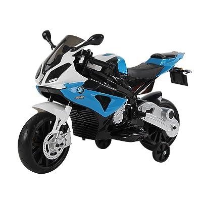 HOMCOM Compatible con Moto Electrica Infantil 3-8 Años Moto de Juguete Eléctrico Batería 12V Doble Motor con Luces y Música Ruedas de Apoyo 110x47x69cm BMW: Juguetes y juegos
