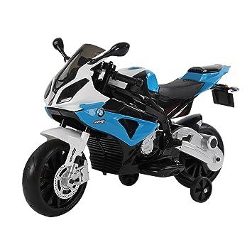 HOMCOM Compatible con Moto Electrica Infantil 3-8 Años Moto de Juguete Eléctrico Batería 12V Doble Motor con Luces y Música Ruedas de Apoyo ...