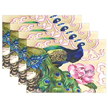 The Peacock Placemats,Set of 6,Heat-Resistant Washable Table Place Mats Table Decoration,12 X 18 Inches