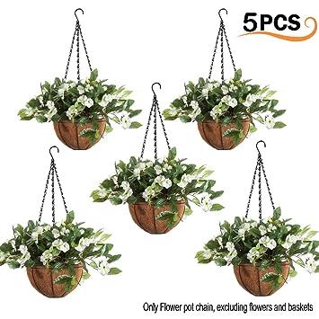 5 Sets Hanging Chain With Hooks Garden Plant Flower Pot Basket