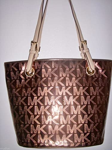 c48b76cfc3 Michael Kors Jet Set Mirror Metallic Medium Cocoa Tote Bag  Handbags  Amazon .com