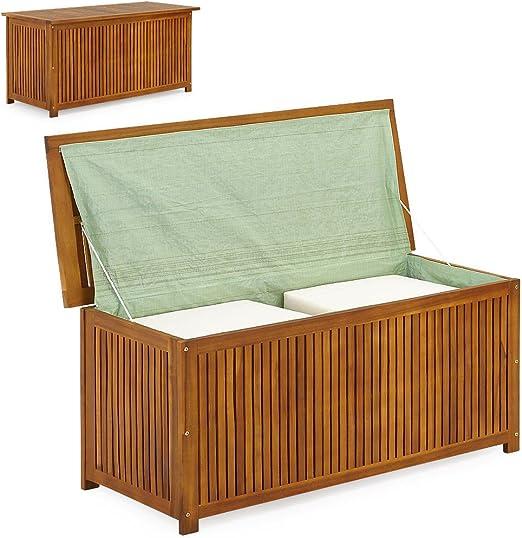 LD Arcón de madera, baúl de madera, baúl para cojines, jardín ...