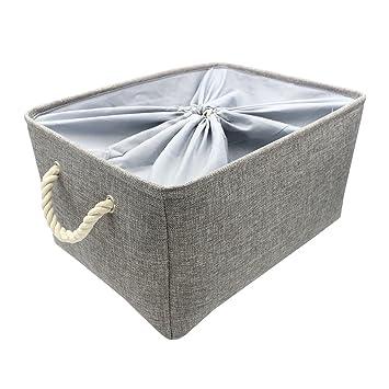 Kernorv Large Gray 100% Natural Cotton Linen Storage Bins Organizer,  Multi Sized Foldable