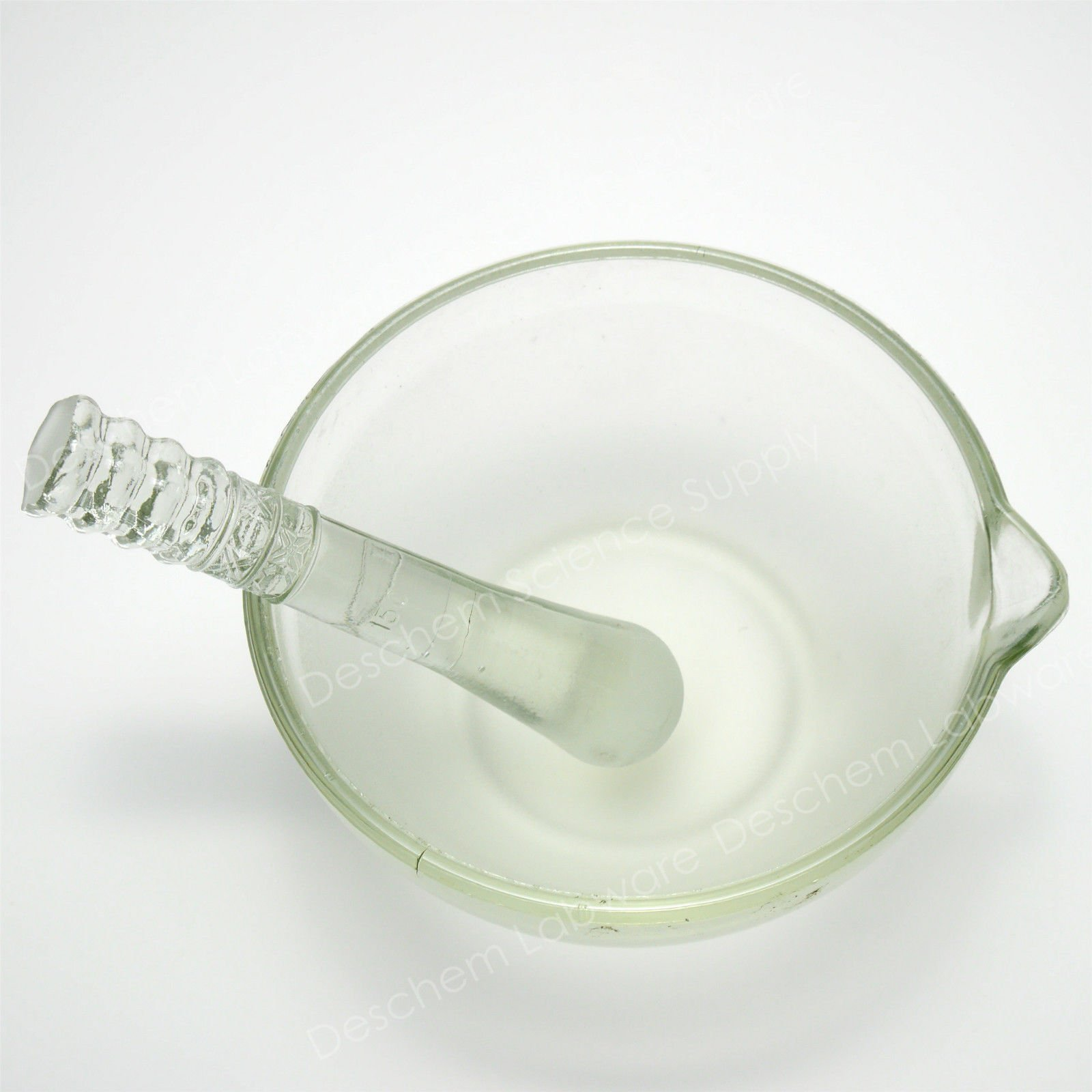 Deschem 150mm,Footed Glass Mortar & Pestle,ID 15CM,Lab Glassware