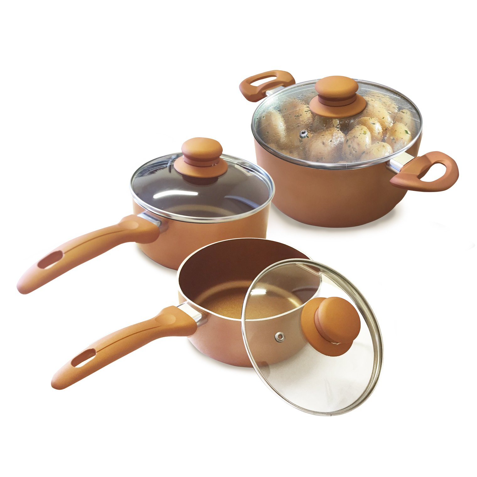 Homiu Copper Pots With Lids – 6, 7, 9.in Three-Piece Set – Two-Layer Non-Stick Coating - Gas, Electric And Induction Hob Safe – Bakelite Rubber Handle – Aluminium Alloy - 0.09In Thick
