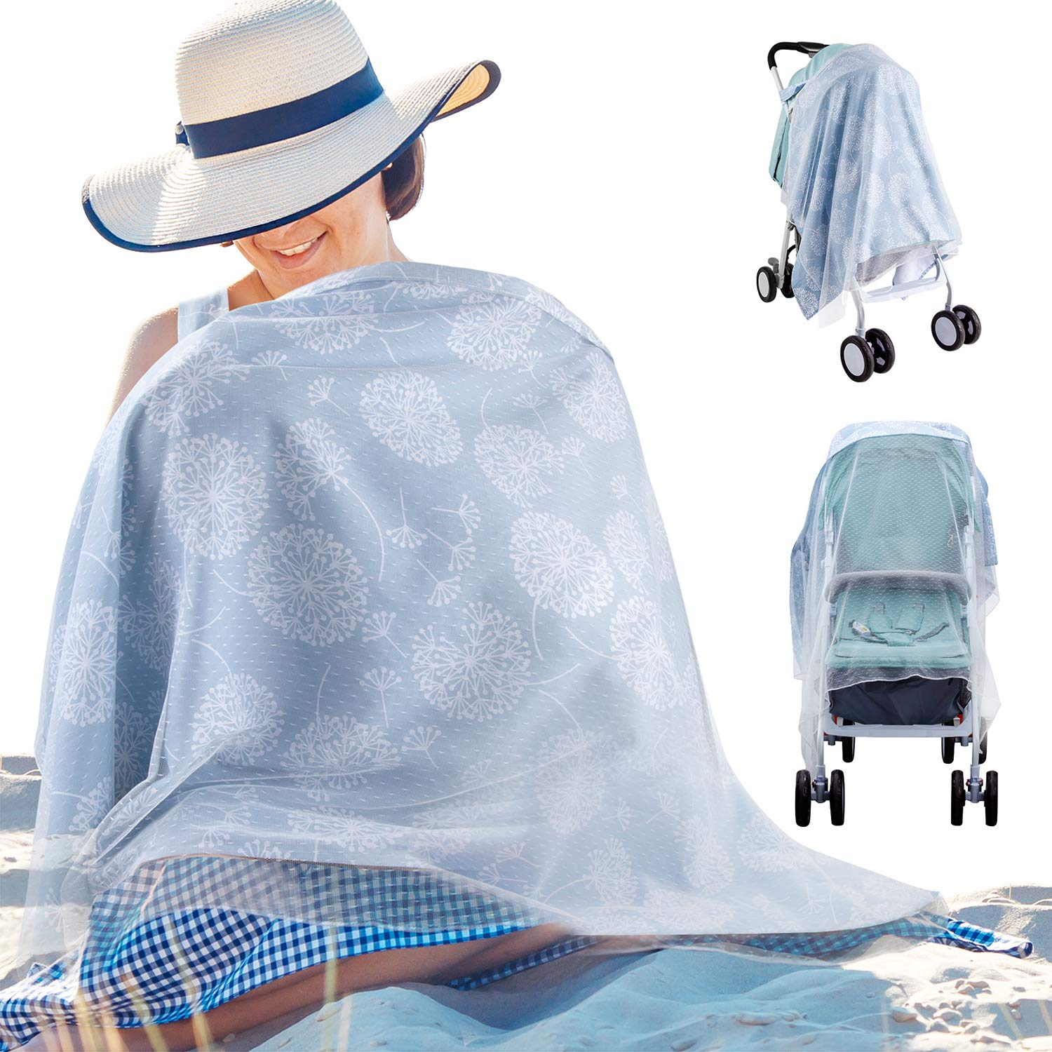 Adjustable Strap Large Size Nursing Apron for Breast Feeding Covers Ups Lightweight Breathable Cotton Privacy Feeding Cover with Built-in Burp Cloth Nursing Cover for Breastfeeding Babies