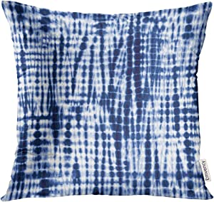 VANMI Throw Pillow Cover White Shibori Indigo Blue Tie Dye Pattern Navy Batik Abstract Decorative Pillow Case Home Decor Square 18x18 Inches Pillowcase