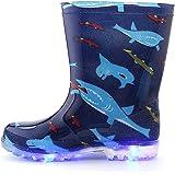[KushyShoo] 長靴 キッズ 歩くたびに光る 収納袋付き 軽量 レインブーツ 女の子 男の子 雨靴 ジュニア 子ども用 滑り止め 防水防寒 梅雨対策 通園・通学用 14cm~21cm
