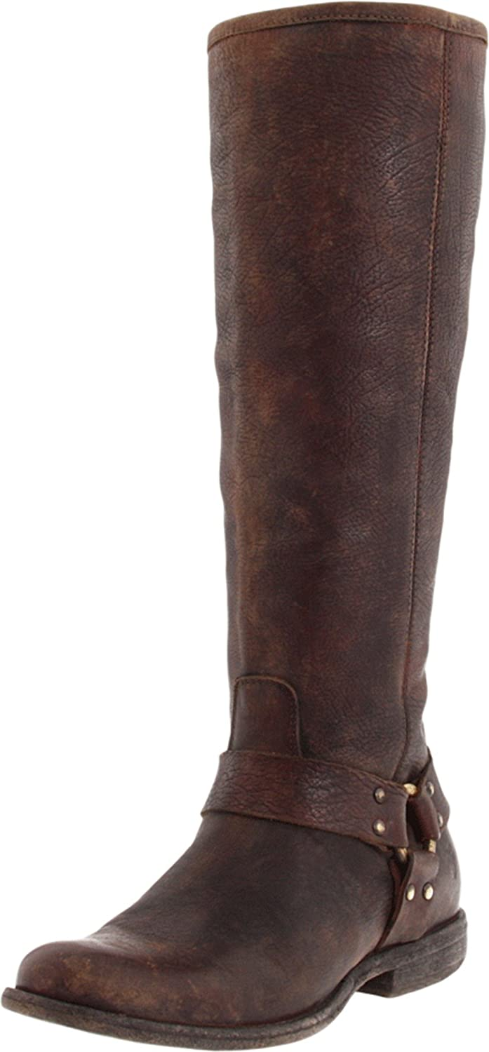 Dark Brown Soft Vintage Leather Frye Women's Phillip Harness Tall Boot