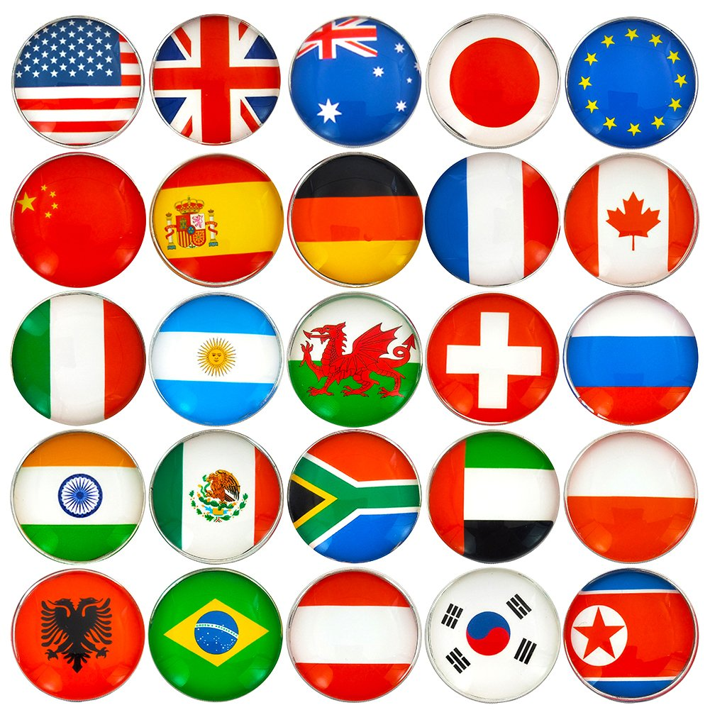 25pcs Beautiful Crystal Glass Refrigerator Magnets National flag Fridge Stickers Best Gift for Office Calendar Whiteboards Perfect Decorative Photo Abstract (flag)