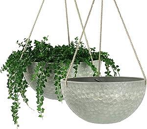 LA JOLIE MUSE 10 Inch Hanging Planters for Indoor Plants, Outdoor Garden Planter Pots, Storm Gray, Honeycomb, Set of 2
