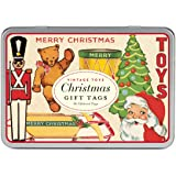 Cavallini Papers Glitter Gift Tags Christmas Toys 36 Assorted Gift Tags Packaged in a Tin