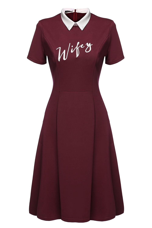 ACEVOG Women's Summer Doll Collar Slim Ruffle Frill Tunic Pleated A-line Dress