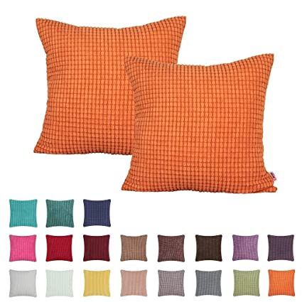 Queenie - 2 Pcs Solid Color Big Corn Striped Corduroy Decorative Pillowcase Cushion Cover Throw Pillow Case available in 19 colors and 7 sizes (19.75 ...
