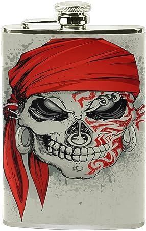 ALAZA pirata Calavera petaca 8 oz A prueba de fugas Acero ...