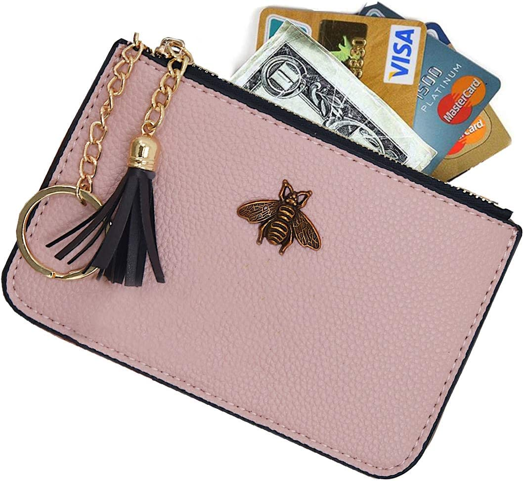 Amazon.com: AnnabelZ Women's Coin Purse Change Wallet Pouch Leather Card  Holder with Key Chain Tassel Zip (Light Pink)