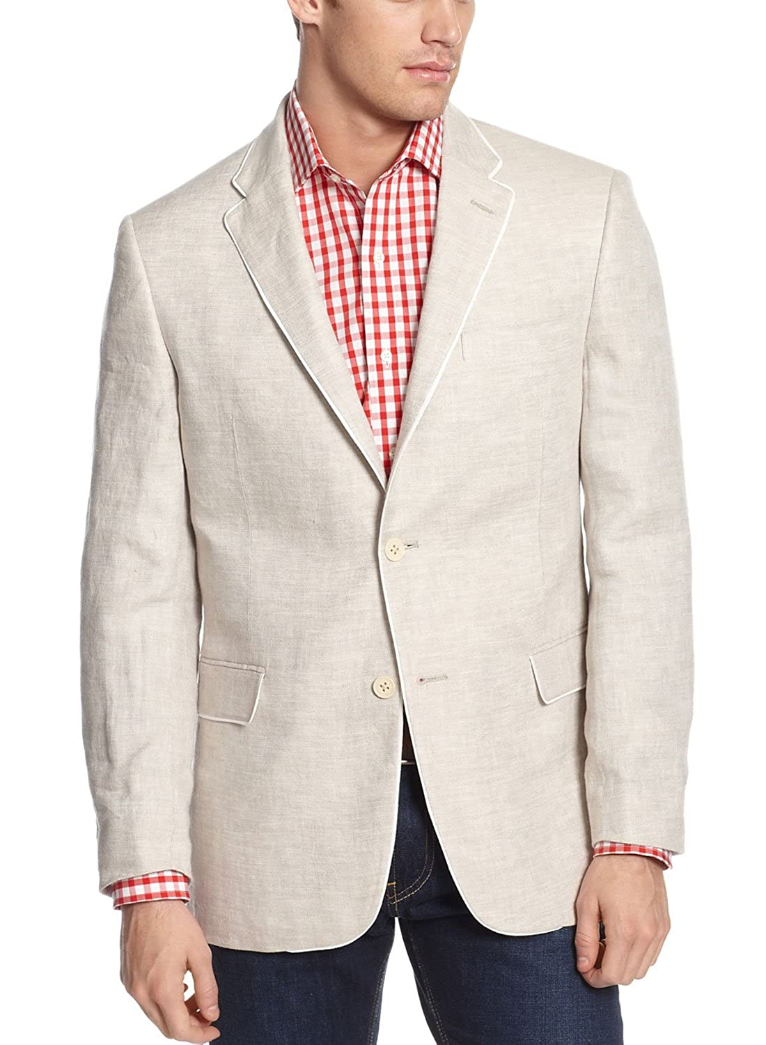 da3fc5bed668 Tommy Hilfiger Men s Beige Textured Two Button Pure Linen Blazer Sportcoat  (38S)  Amazon.in  Clothing   Accessories