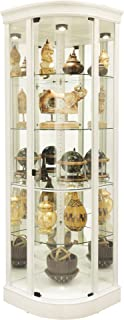 product image for Howard Miller Marlowe IV Corner Curio Cabinet 680-665 – Aged Linen Finish Home Decor, Four Glass Shelves, Five Level Display Case, No Reach Roller Halogen Light