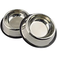 Mlife Stainless Steel Dog Bowl with Rubber Base for Small/Medium/Large Dogs, Pets Feeder Bowl…