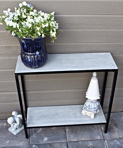 2 Tier Concrete Outdoor Patio Console Buffet Table