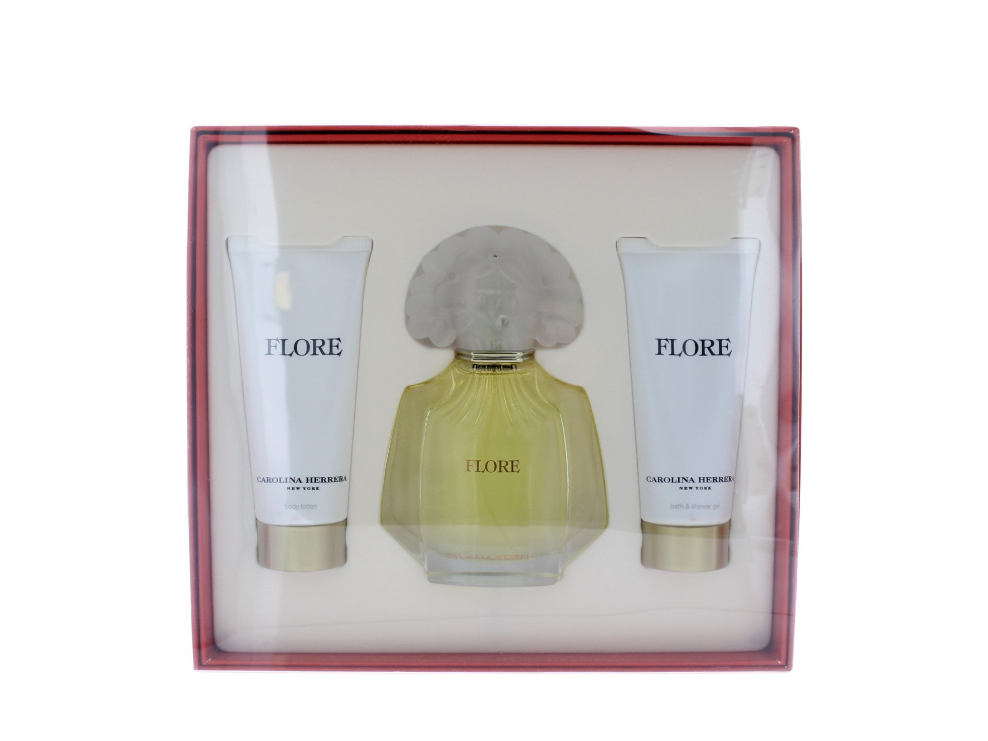 Flore By Carolina Herrera For Women. Set-eau De Parfum Spray 3.4 oz & Body Lotion 3.4 oz & Shower Gel 3.4 oz