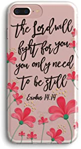 iPhone 8 Plus Case,iPhone 7 Plus Case,Women Cute Equinox Flowers Floral Inspirational Bible Verse Quote Christian Exodus14:14 Clear Soft TPU Anti Scratch Protective Case Cover for iPhone 7/8 Plus