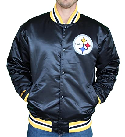 And Pittsburgh Mens Satin Amazon Mitchell Clothing Steelers Jacket com Ness