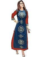 Sitaram Creations Red Silk Women's Semi-Stitched Salwar Suit Set (50-Red11111_Free Size)