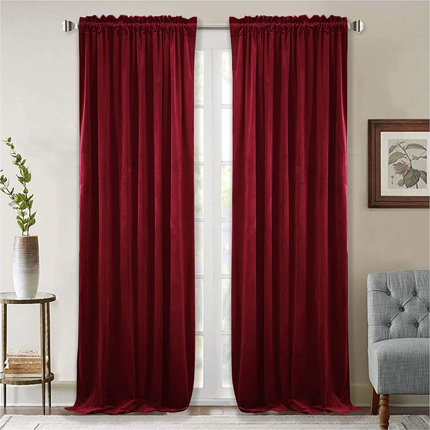 StangH Thick Velvet Curtains 96-inch - Heavy-Duty Large Window Velvet Drapes Room Darkening Privacy Enhancing Panels for Home Theatre/Film Room/Stage, Red, 52 x 96 inches, 2 Pcs