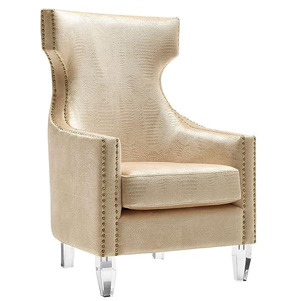 Tov Furniture Gramercy Croc Velvet Wing Chair, Gold