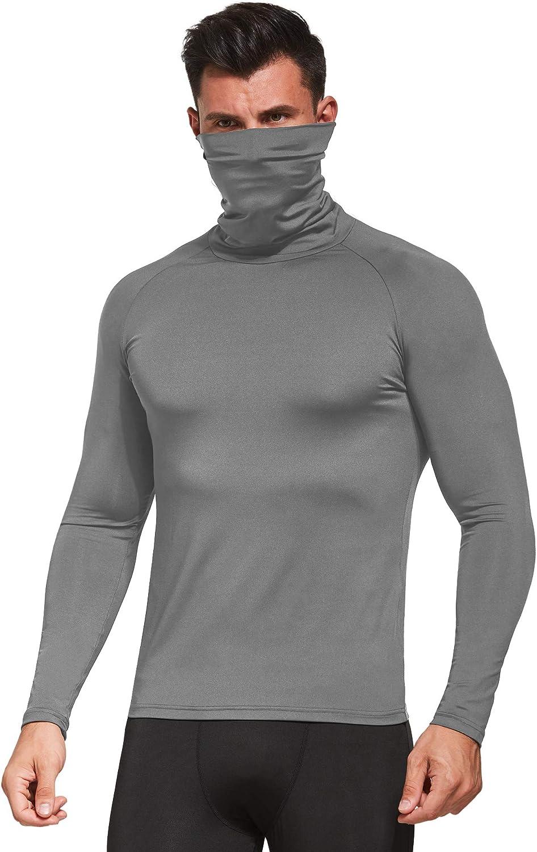 Ogeenier Funktionsshirt Herren Langarm Kompressionsshirt Fitness Sport Shirt Laufshirt mit Rollkragen
