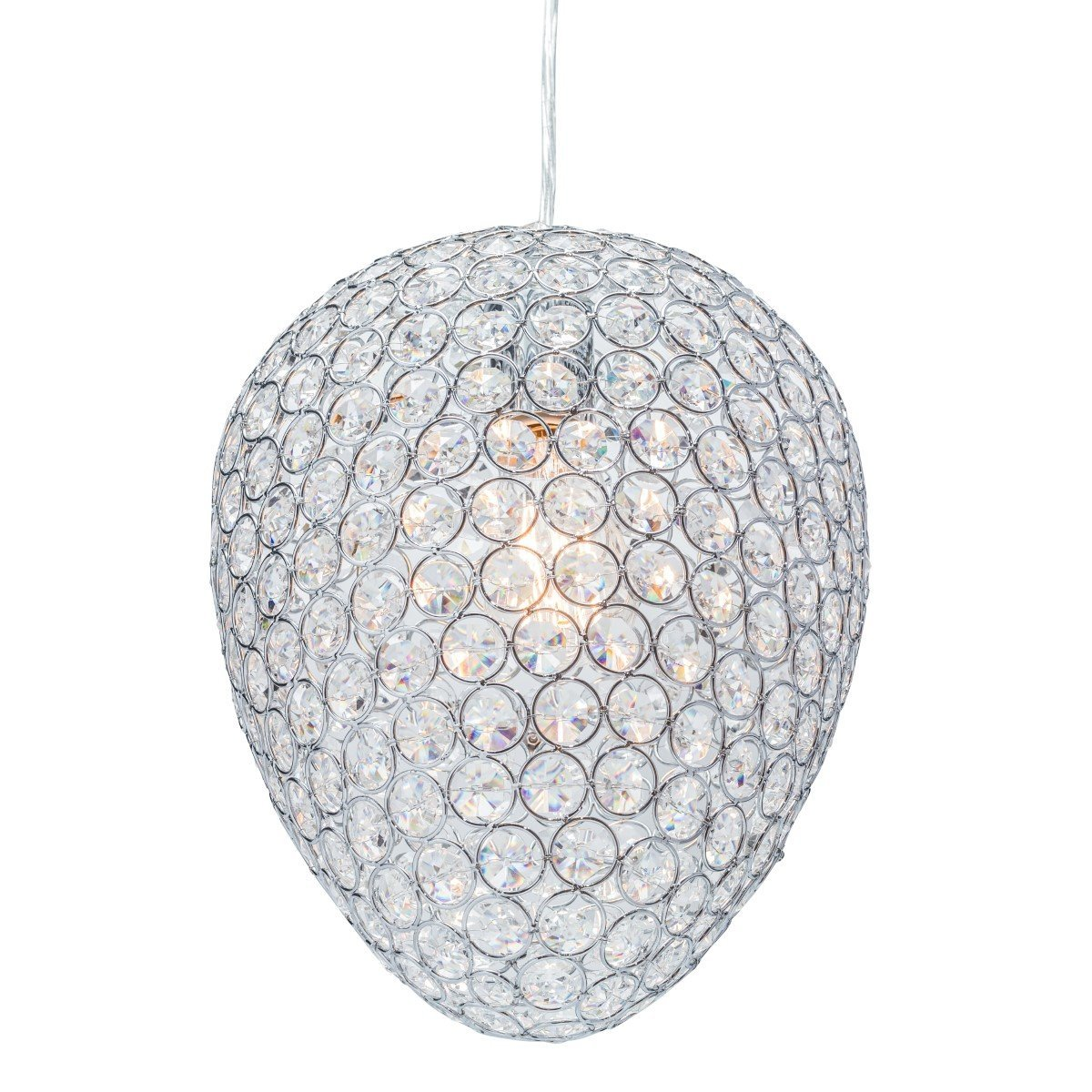 Globe Electric Trenton 1-Light Sparkling Masterpiece Pendant, Chrome Finish, Caged Crystal Shade, 65087