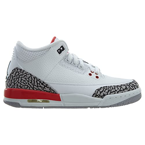 competitive price 88b8f e9e21 Amazon.com   Nike Air Jordan 3 Retro Big Boy s Shoes White Fire Red Cement  Grey 398614-116 (6.5 D(M) US)   Basketball