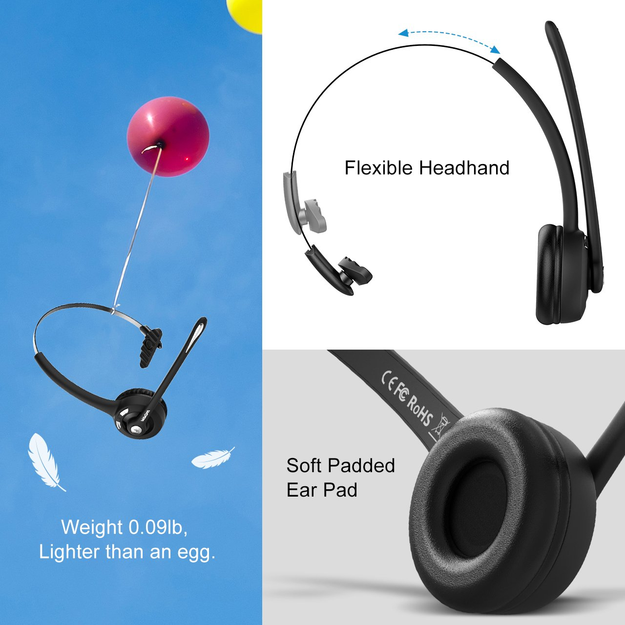 Wireless Over The Head Earpiece w//Mic On-Ear Headset for Call Center Mpow Pro 2-Pack VoIP Skype Truck Driver Bluetooth Headset//Office Headset