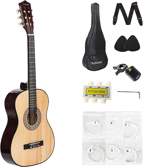 Dawoo Guitarra Española,Kit de guitarra Acústica Con Cuerdas de Guitarra Púas de Guitarra Correa de Guitarra Color Madera (39 pulgadas): Amazon.es: Instrumentos musicales