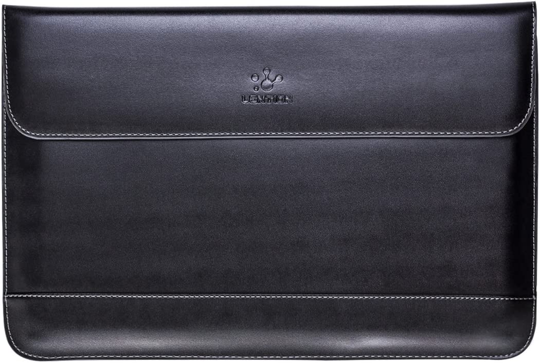 LENTION Split Leather Sleeve Case Compatible 2016-2019 MacBook Pro 13 (Thunderbolt 3), New Mac Air, XPS 13, iPad Pro 12.9 and Ultra Slim Laptop, Magnetic Snaps & Soft Touch (Black)