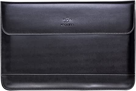 LENTION 13-Inch Split Leather Laptop Sleeve Bag Compatible for 2019 2018 MacBook Air, New Mac Pro 13 (Thunderbolt 3 Ports), iPad Pro 12.9, More, Protective Case Cover with Magnetic Snaps (Black)