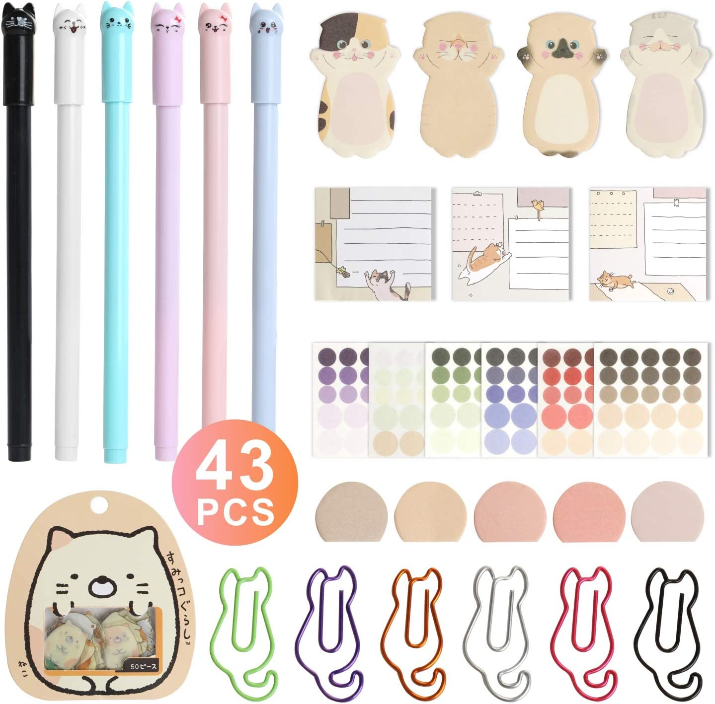 Cute Kawaii Cat Kitty Paw Page Flag Sticky Notes Planner Stickers Scrapbooking