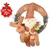 Christmas Wreath Garland for Front Door Wall Hanging Faux Pine Holly and Country Rattan Wood Xmas Decoration with Santa Claus