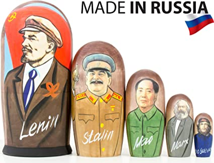 7 in 5pcs Hand Made Russian Nesting Doll of Stalin /& Other Communist Leaders