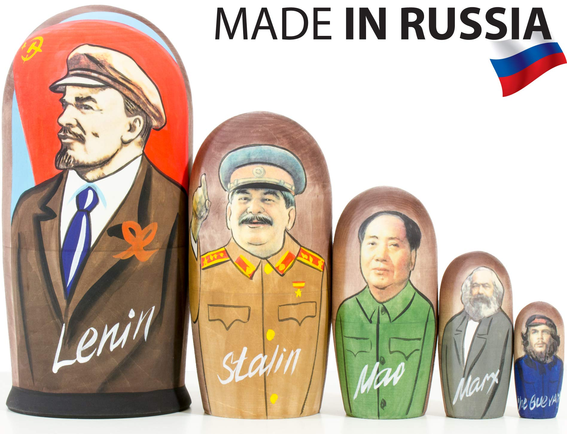 Russian Nesting Doll - Russian Leaders: Lenin - Hand Painted in Russia - Traditional Matryoshka Babushka (Russian Leaders: Lenin, 6.75``(5 Dolls in 1))