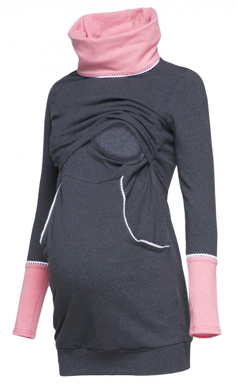 Happy Mama. Femme Sweat-shirt Col Roulé d'allaitement Double Couches. 304p nursingtop_304