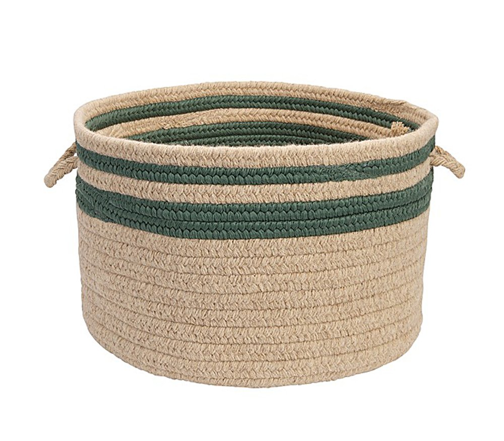 Colonial Mills Home Decorative Cabin Stripe Storage - Myrtle Green 14'''' x10 Storage Basket, NEW