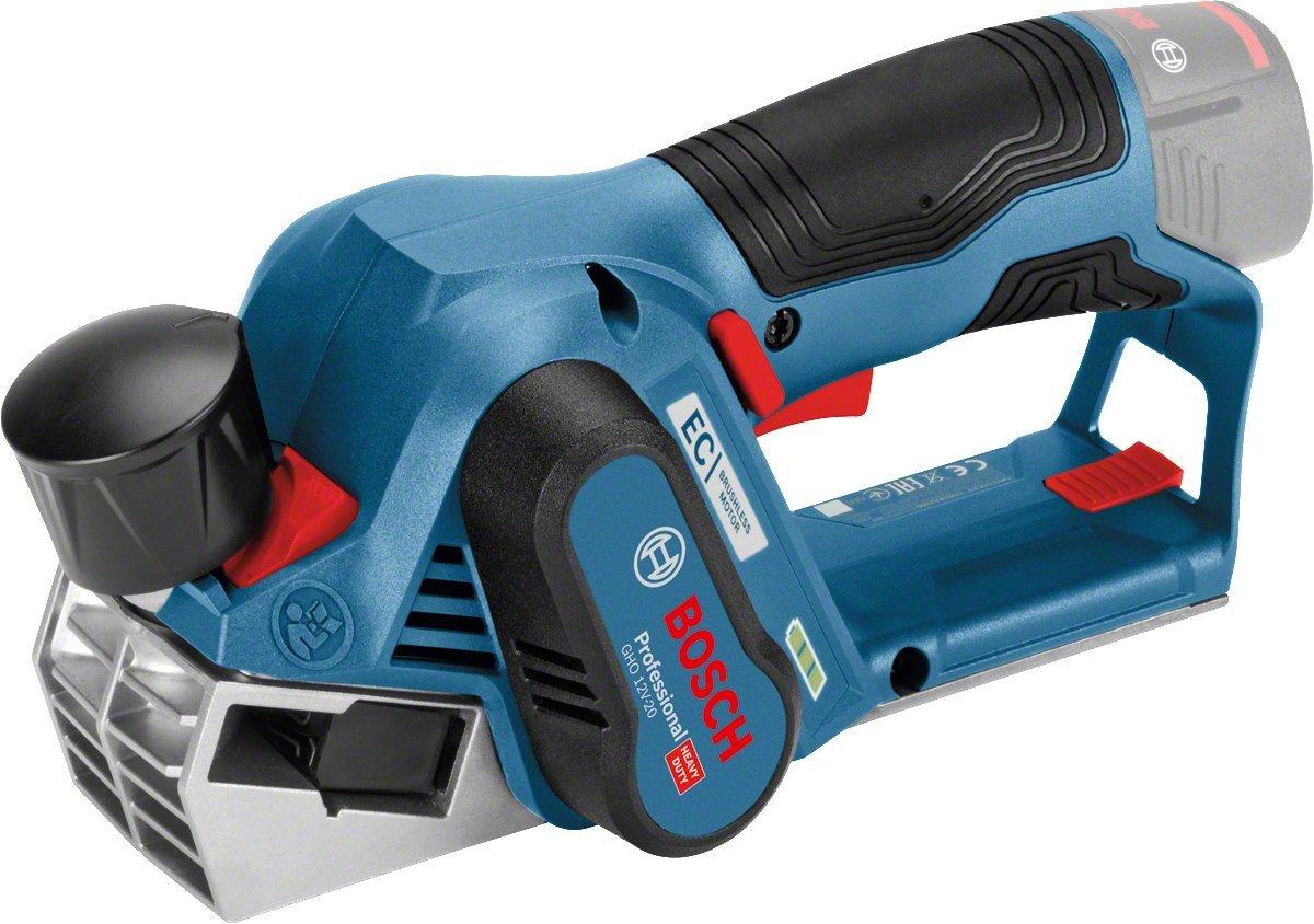 Bosch Professional Akku Hobel GHO 12V-20 (ohne Akku, Hobelmesser, Schraubenschlü ssel, Karton, 12 Volt, Schnitttiefe max.: 2,0 mm, Hobelbreite max.: 56 mm, Falztiefe: 17 mm) 06015A7000